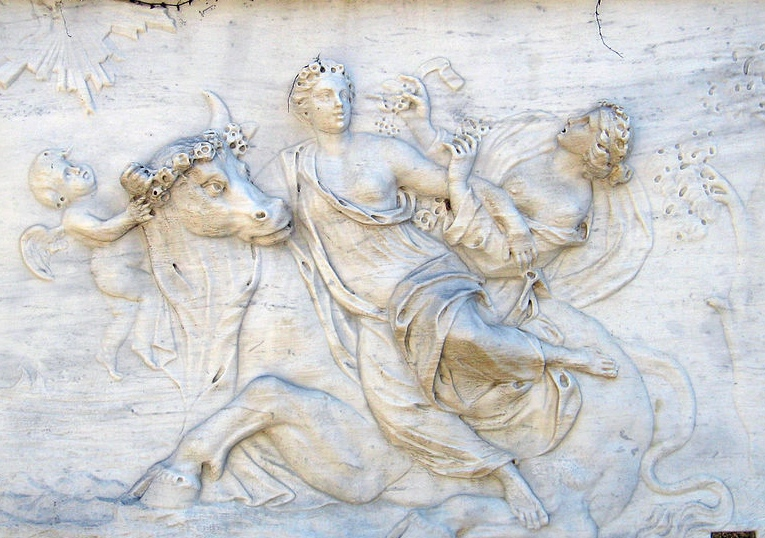 """Porwanie Europy przez Zeusa"", Parc del Laberint, Barcelona. Fot. F.Teenck, Wikimedia Commons https://commons.wikimedia.org/wiki/File:Relief_of_Zeus_-_Parc_del_Laberint_d'Horta_-_Barcelona.jpg"