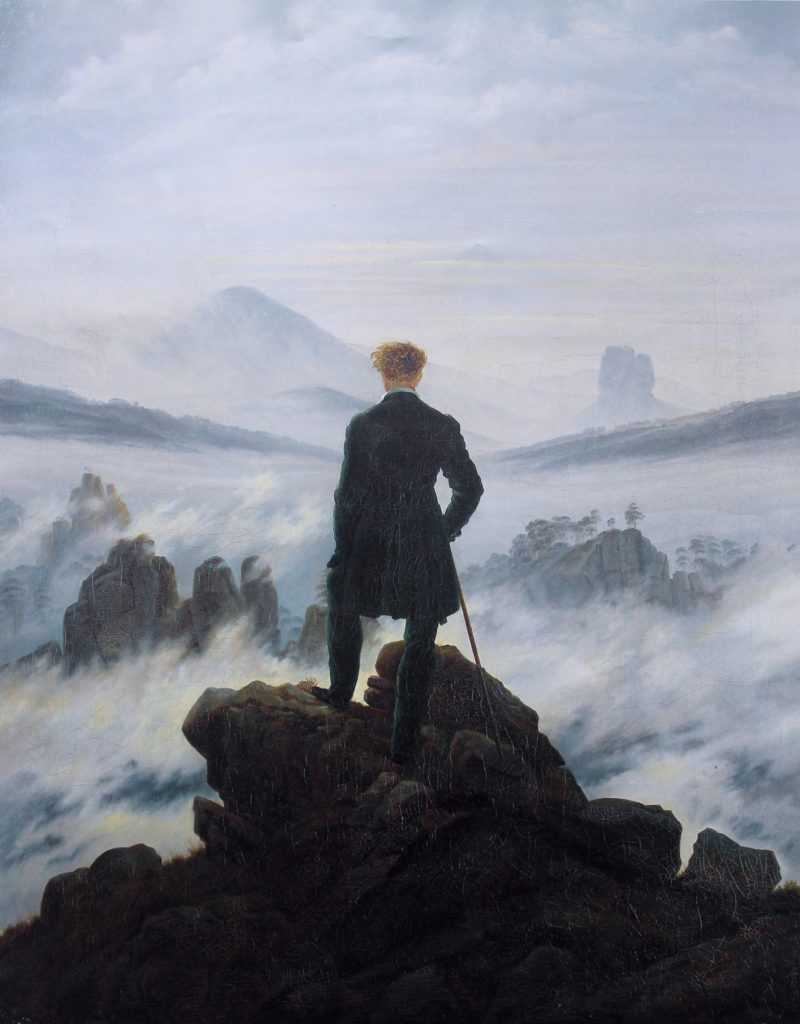 "Caspar David Fredrich ""Wędrowiec ponad morzem mgieł"", Wikipedia https://en.wikipedia.org/wiki/Caspar_David_Friedrich#/media/File:Caspar_David_Friedrich_-_Wanderer_above_the_sea_of_fog.jpg"